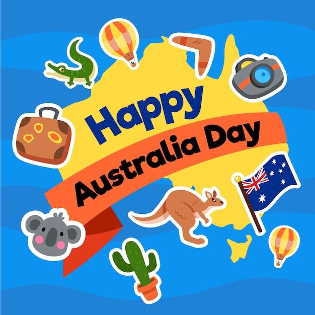 Journée De L'australie Au Design Plat Avec Carte Et Animaux Vecteur gratuit