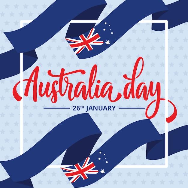 Journée De L'australie Avec Des Drapeaux De Ruban Vecteur gratuit