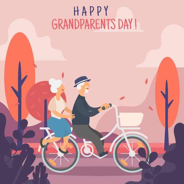 Journée de bienvenue des grands-parents Vecteur Premium