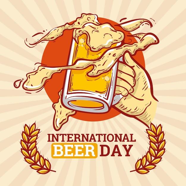 Journée De La Bière Avec Des Tasses Design Dessiné à La Main Vecteur gratuit