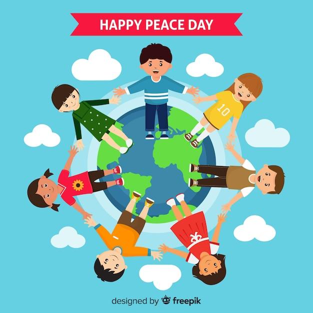 Journée de la composition de la paix avec des enfants se tenant la main Vecteur gratuit