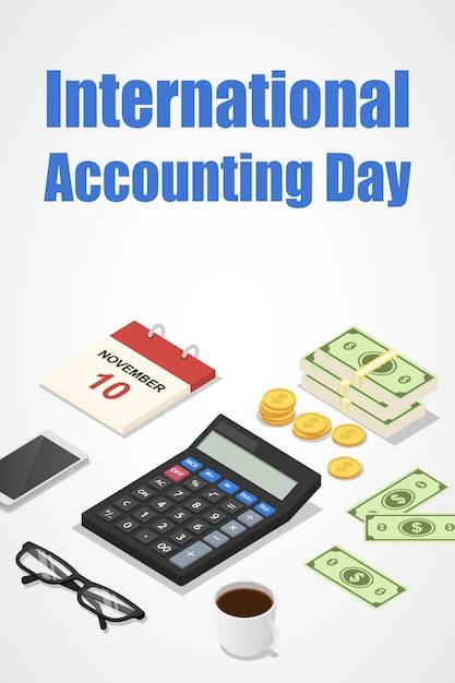 Journée de la comptabilité internationale Vecteur Premium