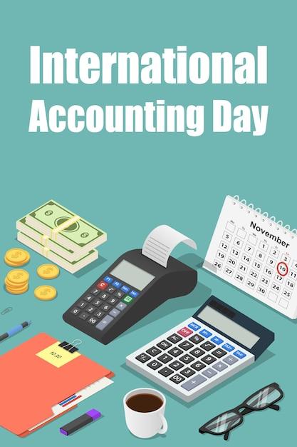Journée comptable mondiale Vecteur Premium