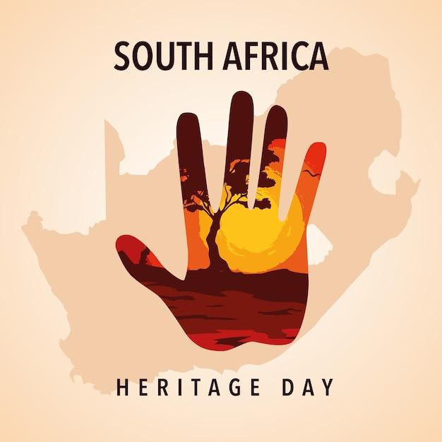 Journée Du Patrimoine En Afrique Du Sud, Illustration Vecteur Premium