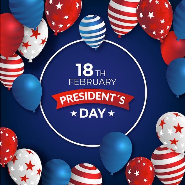 Journée Du Président Avec Des Ballons Réalistes Vecteur gratuit