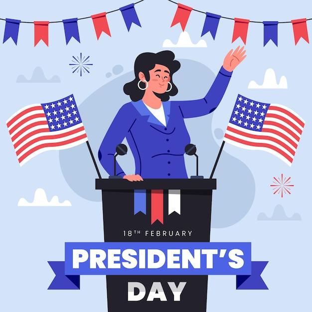 Journée Du Président En Design Plat Vecteur Premium