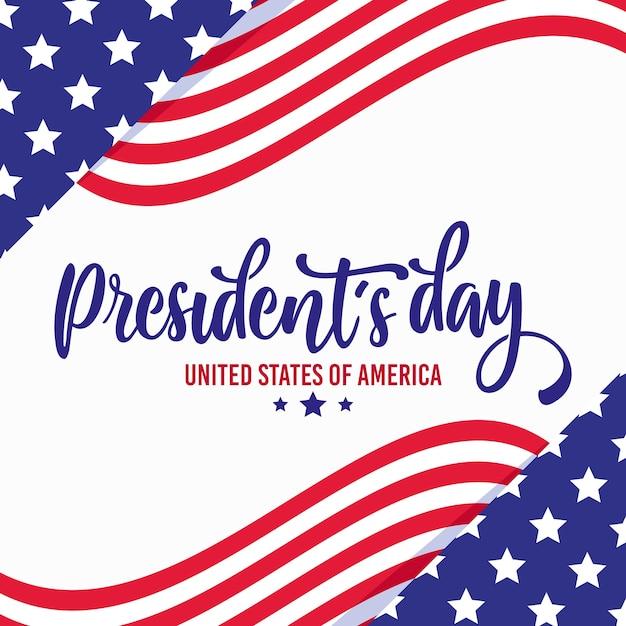 Journée Du Président Avec Drapeaux Et étoiles Vecteur gratuit