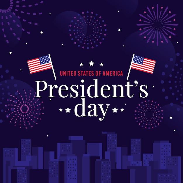 Journée Du Président Avec Drapeaux Et Feux D'artifice Vecteur gratuit