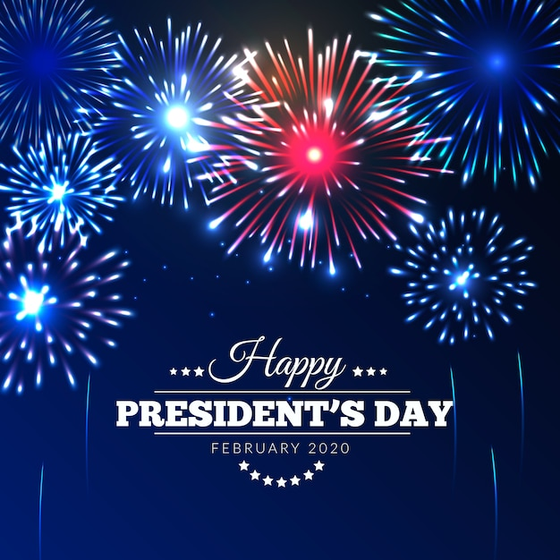 Journée Du Président Avec Feux D'artifice Dans Le Ciel Vecteur gratuit