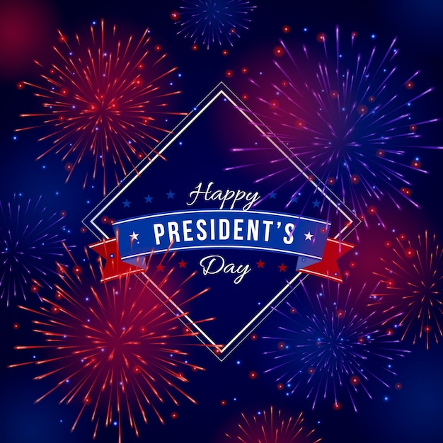 Journée Du Président De Fond De Feux D'artifice Vecteur gratuit