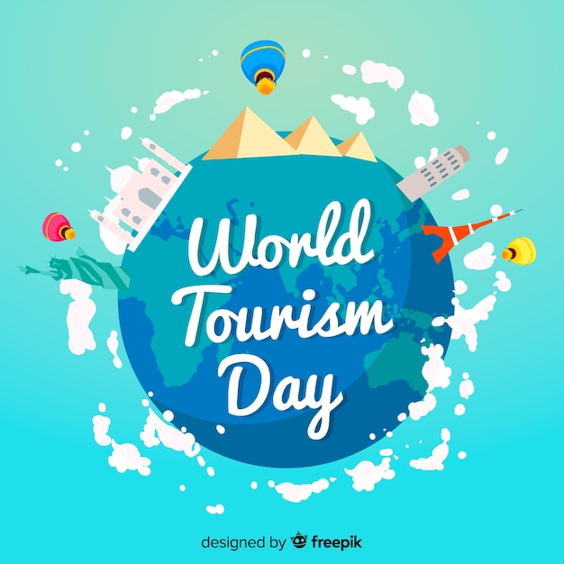 Journée du tourisme dans le monde plat Vecteur gratuit