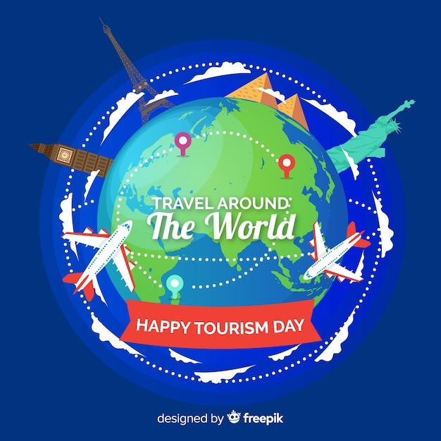 Journée du tourisme design plat avec des points de repère Vecteur gratuit