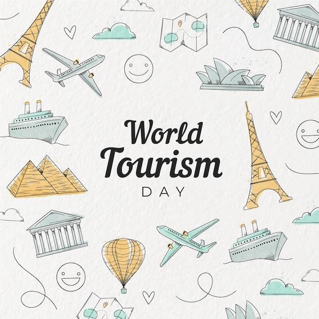 Journée Du Tourisme Dessiné à La Main Vecteur gratuit