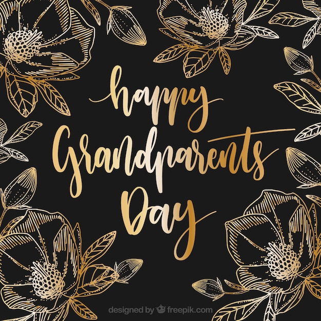 Journée élégante Des Grands Grands Parents Avec Des Fleurs Dorées Vecteur gratuit