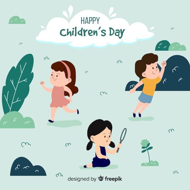Journée Des Enfants à La Découverte Des Enfants Vecteur gratuit