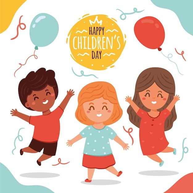 Journée Des Enfants Design Dessiné à La Main Vecteur Premium