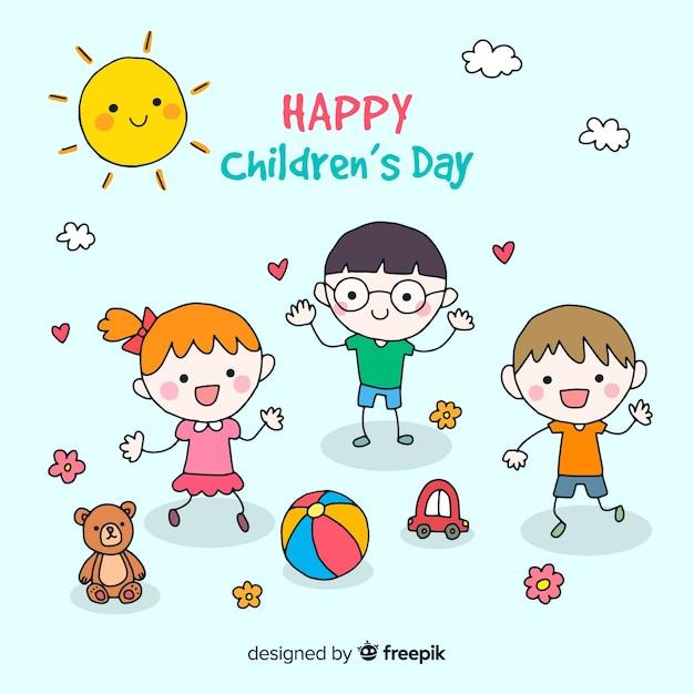 Journée des enfants heureux fond d'amis Vecteur gratuit