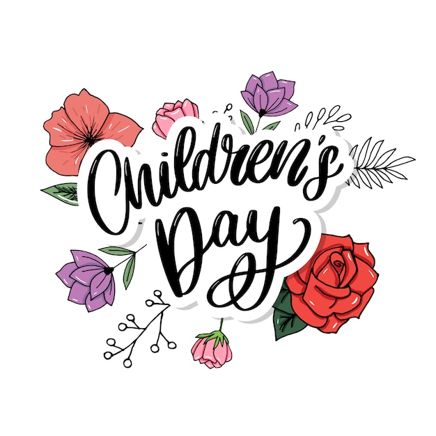 La journée des enfants . titre de la fête des enfants heureux. inscription de la journée des enfants heureux. Vecteur Premium