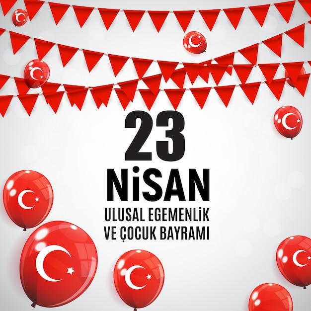 Journée des enfants turcophone, cumhuriyet bayrami. Vecteur Premium