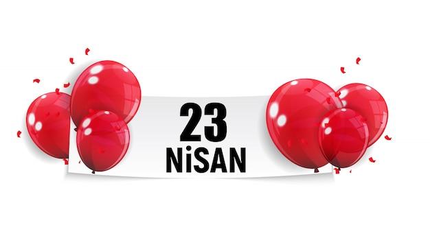 Journée Des Enfants Turcophone, Nisan Cumhuriyet Bayrami. Vecteur Premium