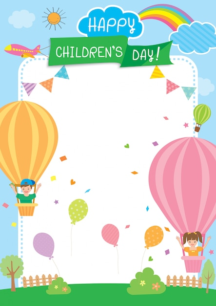 La journée des enfants Vecteur Premium