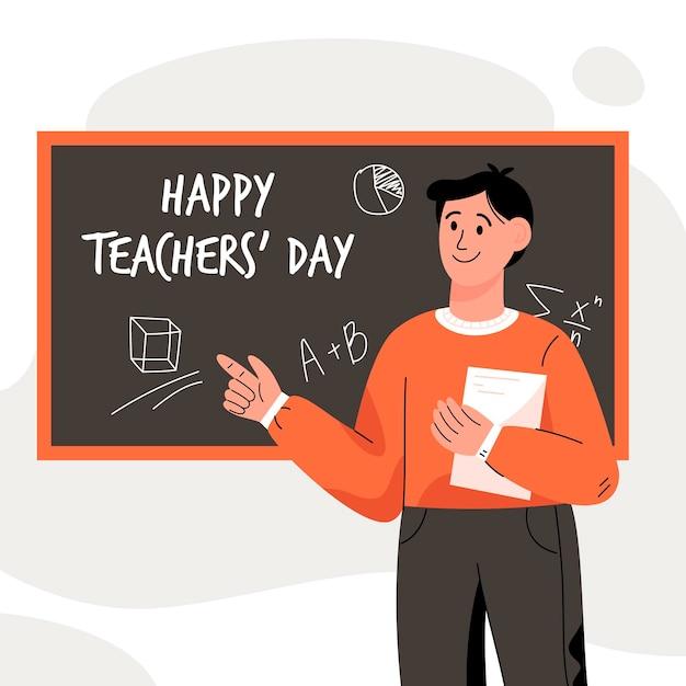 Journée Des Enseignants Dessinés à La Main Avec Un Enseignant Masculin Vecteur Premium