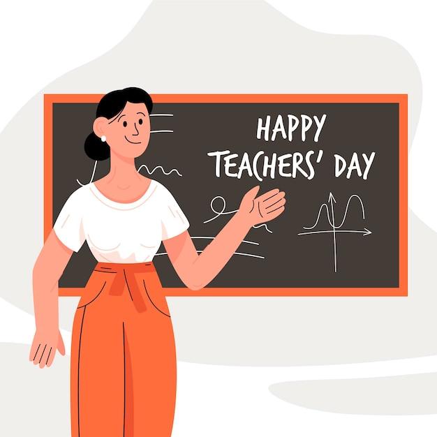 Journée Des Enseignants Dessinés à La Main Avec Une Enseignante Vecteur Premium