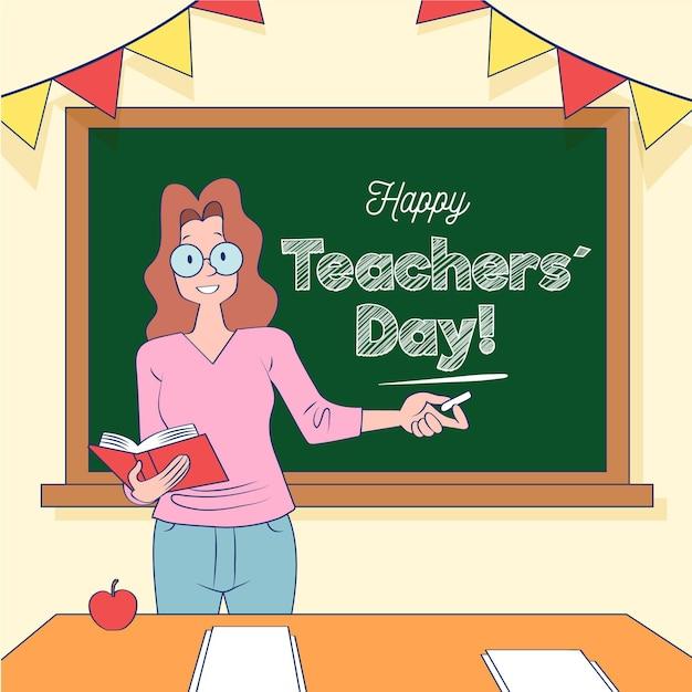 Journée Des Enseignants Dessinés à La Main Vecteur Premium