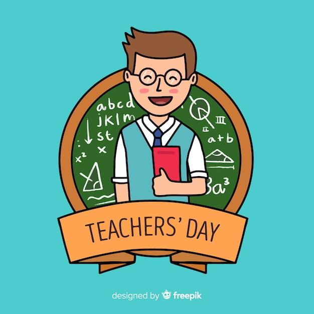 Journée des enseignants du monde dessinés à la main avec homme tenant des livres Vecteur gratuit