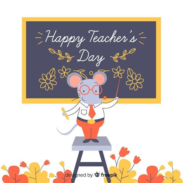 Journée des enseignants du monde du dessin animé avec la souris comme enseignant Vecteur gratuit