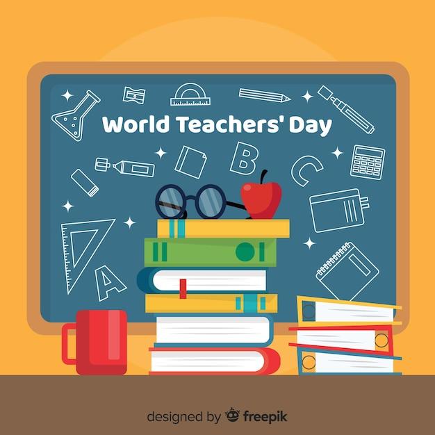 Journée des enseignants du monde plat Vecteur gratuit
