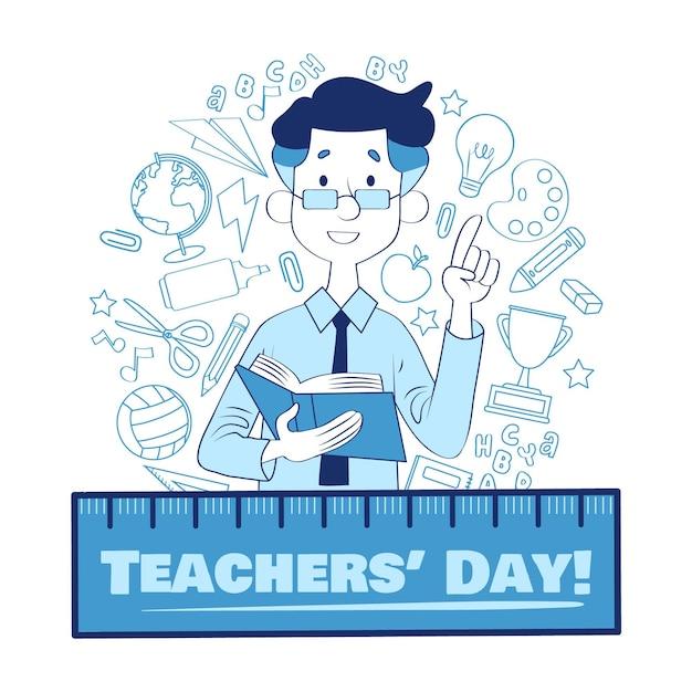 Journée Des Enseignants De Style Dessiné à La Main Vecteur Premium