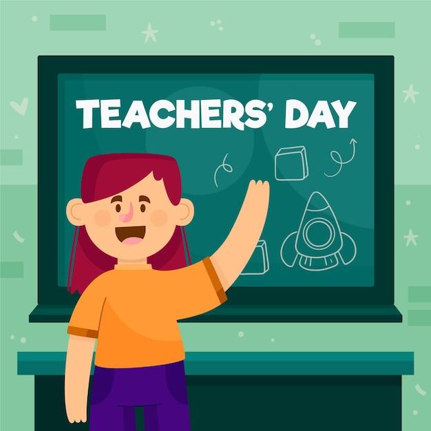 Journée Des Enseignants Avec Tableau Noir Et élève Vecteur gratuit