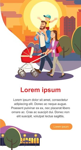 Journée de la famille cartoon vector concept avec les parents Vecteur Premium