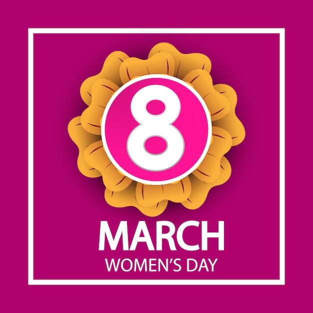Journée de la femme 8 mars célébration signe sur fond rose Vecteur Premium