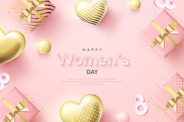 Journée De La Femme Avec Des Ballons D'amour Et Des Coffrets Cadeaux 3d. Vecteur Premium