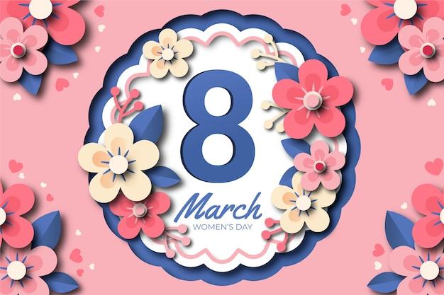 Journée De La Femme Dans Un Style Papier Avec Fleur Vecteur gratuit