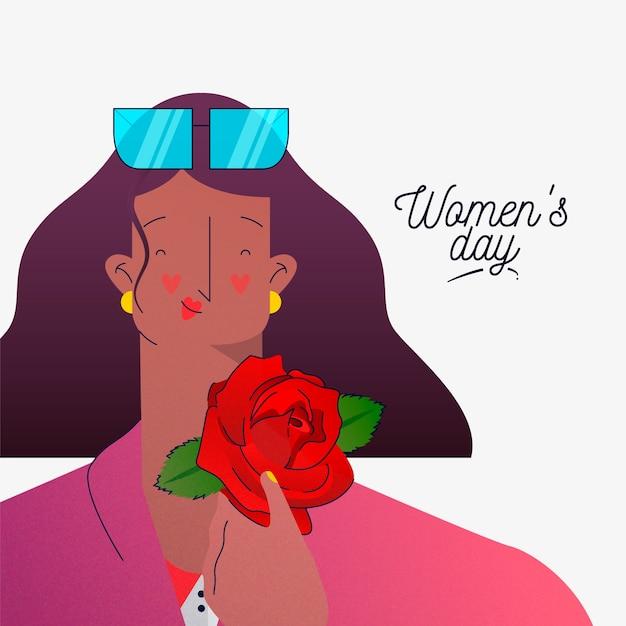 Journée De La Femme Florale Avec Femme Souriant Et Tenant Rose Vecteur gratuit