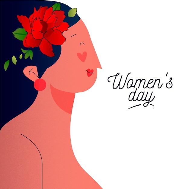 Journée De La Femme Florale Avec Vue Latérale De La Femme Vecteur gratuit