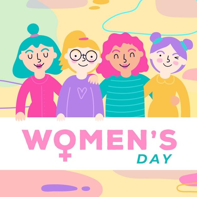 Journée De La Femme Avec Un Groupe Diversifié De Femmes Vecteur gratuit