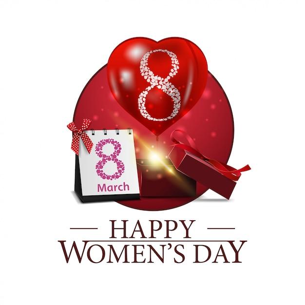 Journée de la femme ronde bannière avec cadeau et ballon Vecteur Premium
