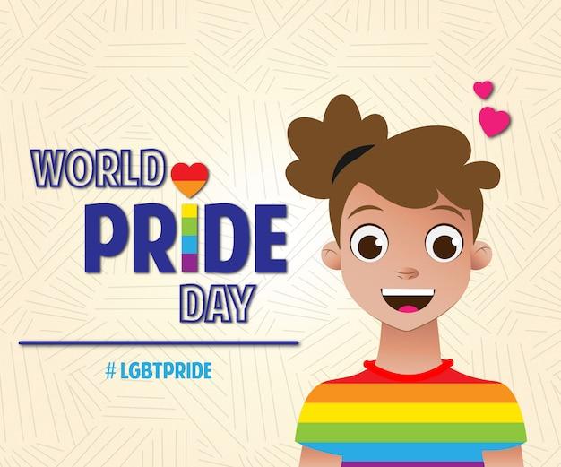 Journée de la fierté mondiale des filles lgbt pride Vecteur Premium