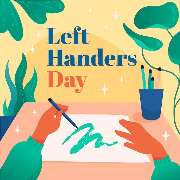 Journée Des Gauchers Avec Dessin Des Mains Vecteur gratuit