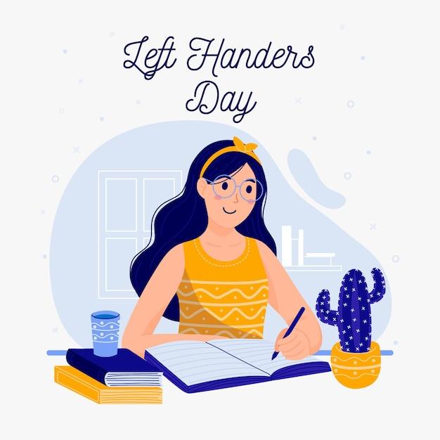 Journée Des Gauchers Avec Femme écrivant Vecteur gratuit