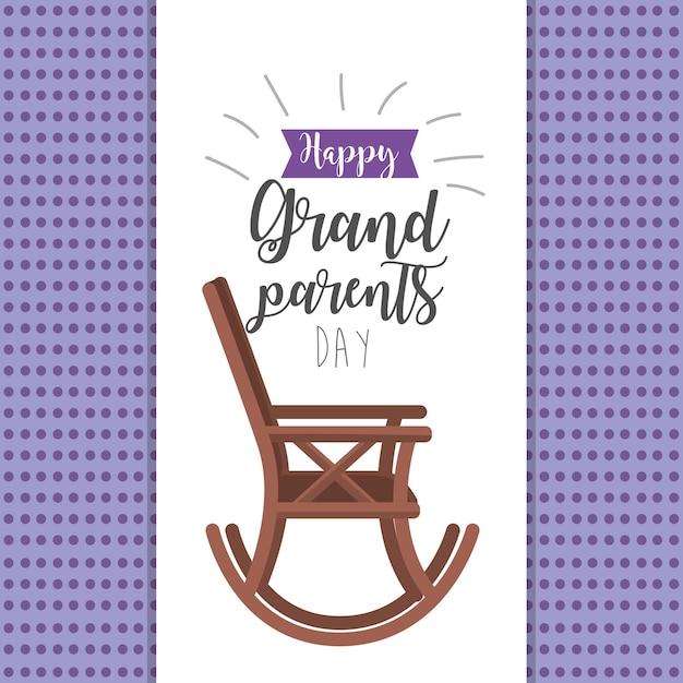 Journée des grands-parents avec chaise et ruban Vecteur Premium