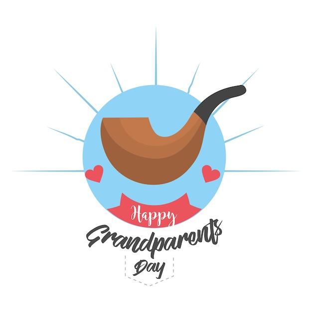 Journée des grands-parents avec conception de tuyaux et de rubans Vecteur Premium