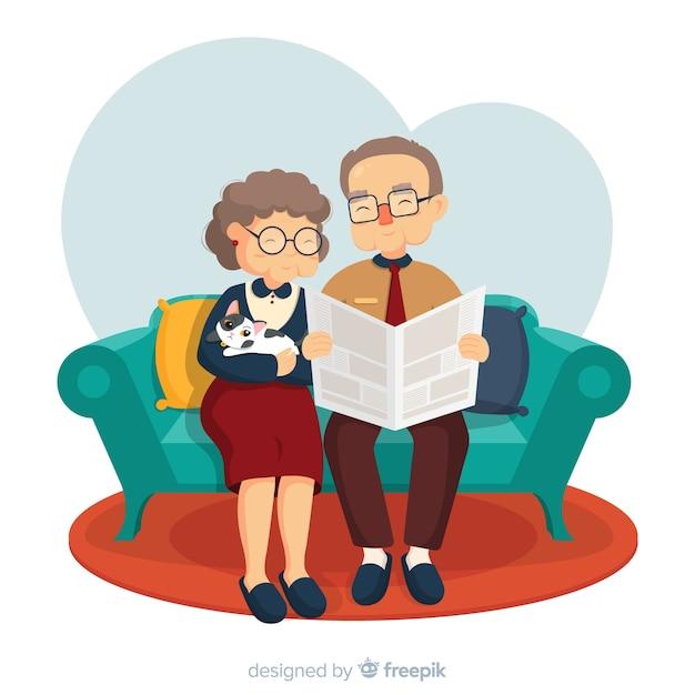 Journée des grands-parents dans le salon Vecteur gratuit