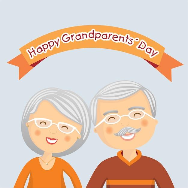 Journée des grands parents heureux avec des cheveux gris Vecteur Premium