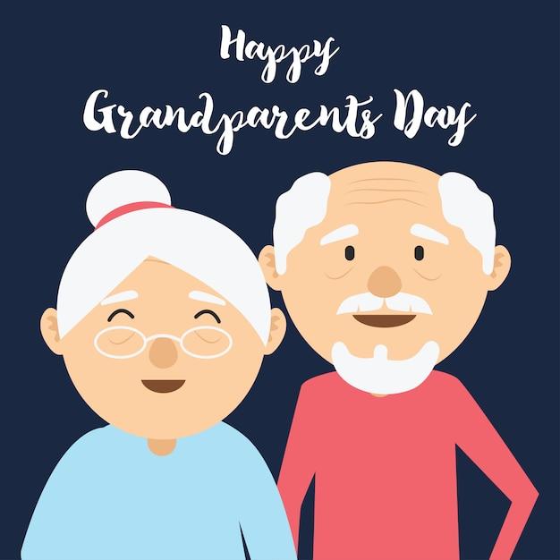 Journée des grands parents heureux pour les personnes âgées Vecteur Premium