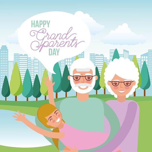 Journée des grands-parents heureux Vecteur Premium